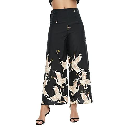 Deviz Queen Gaucho Black Wide Leg Palazzo Pants High Waist Flare Trousers Printed Crane Culotte Loose