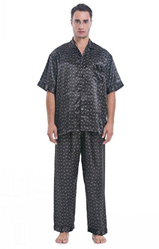 (Lavenderi Men's Short Sleeve Classtic Satin Pajama Set (L, Grey Print))