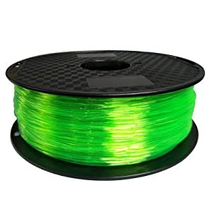 Tonglingusl tpu 3d filament flexible soft 3d printing material filament flex 1.75mm printer modeling (color : 1kg tran green, size : free)