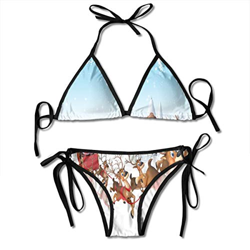 Women's Tie Side Bottom Padding Triangle Bikini Swimsuits,Christmas Ride On A Sleigh Cartoon Deer with Jingle Bells Winter Time,Bikini Sets Beach Swimwear Bathing Suit