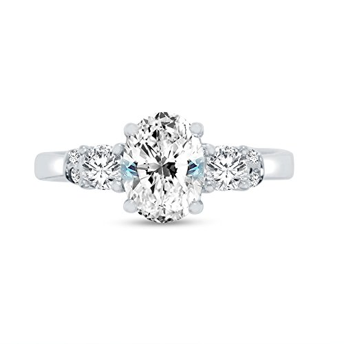Size - 6 - Solid 14k White Gold Oval Cut Graduated Five Stone Solitaire Engagement Ring CZ Cubic Zirconia (2.0cttw., 1.50ct. Center)