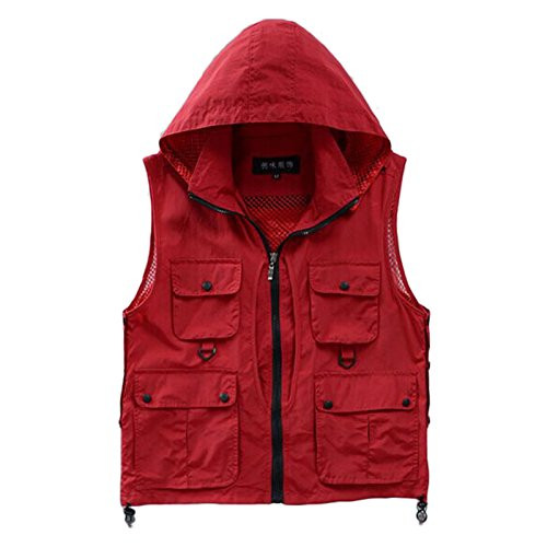 Unisex Outdoor Casual Quick-drying Extra Pockets Fishing Vest Travel Photography Vest with Detachable Hood (Red, L)