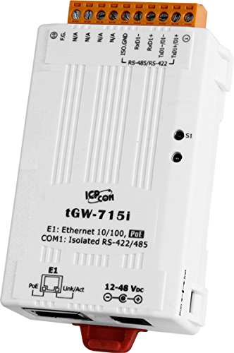 ICP DAS USA tGW-715i Tiny (Isolated) Modbus TCP to Modbus RTU/ASCII Gateway with Power Over Ethernet Option and 1 RS-422/485 Port