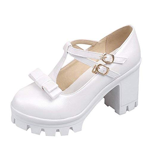 Carol Shoes Cute Women's Sweet Lolita T-Straps Buckles Cosplay Bows Platform High Chunky Heel Mary Janes Shoes (9.5, White)