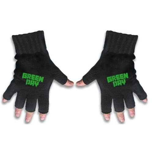 Green Day Fingerless Logo Gloves Black Officially Liscenced Product