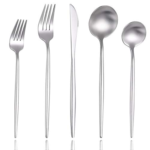 Lemeya Matte Silver Modern Silverware Set,18/10 Stainless Steel Flatware Set,20-Piece Cutlery Set Service for 4…