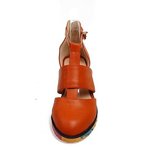 AllhqFashion Mujer Tacón bajo Hebilla Hebilla Material suave PU Puntera Redonda ZapatosdeTacón Amarillo