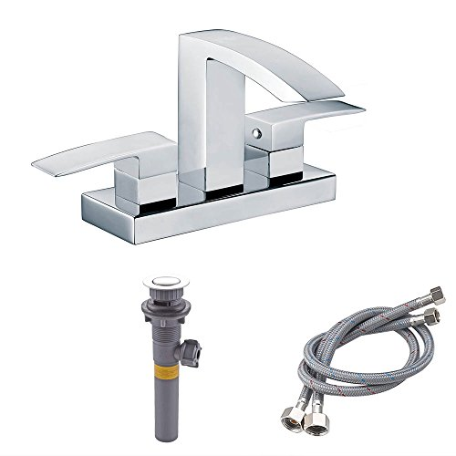 KES cUPC NSF Certified BRASS Two Handle Bathroom Waterfall Faucet with Drain Assembly Lavatory Vanity Sink Faucet 4-Inch Centerset, Polished Chrome, L4101LF (Lavatory Chrome Faucet Centerset)