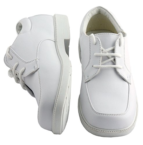 Boys White Lace Up Square Toe Dress Shoes - Wedding - First Communion (Toddler 7)]()