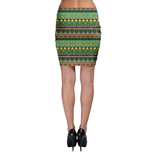 Green Tribal Aztec Pattern with Birds and Flowers Bodycon Skirt