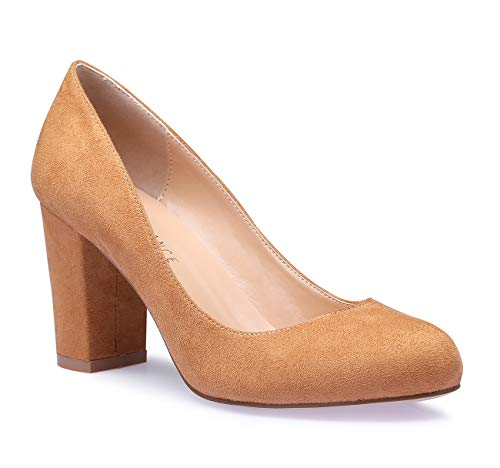 SUNETEDANCE Women's Block Heel Pumps Round Toe Heels Sexy Elegant Slip-on Comfort Classic High Heels Office Business Shoes Suede Brown Pump 8 M US ()