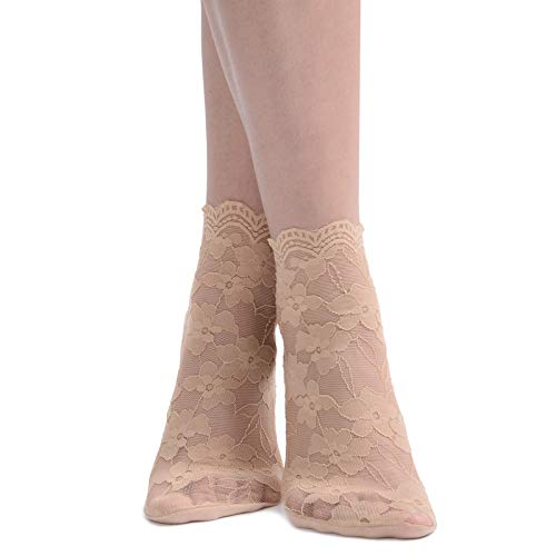Women's Thin Floral Lace Ankle Socks Cotton Bottom Stylish (4 Pairs- Beige)