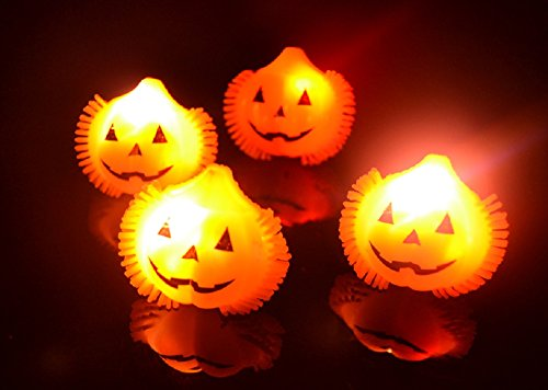 4529202b5a75b Amazon.com  36ct Box LED Halloween Light Up Flashing Pumpkin Rings ...