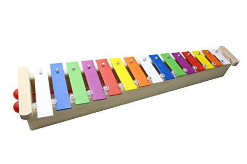- ProKussion 15 Key Soprano Glockenspiel with Wooden Resonating Chamber and Removable Keys (6 Extra Keys and 4 Beaters)