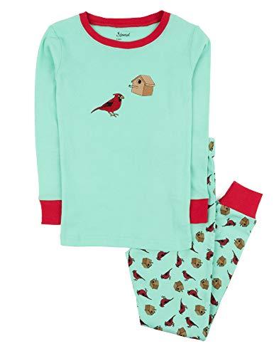 Leveret Kids Pajamas Boys Girls 2 Piece pjs Set 100% Cotton (Bird Cage, Size 2 Toddler) -