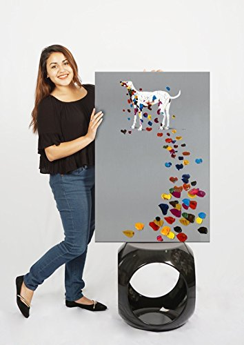 SEVEN WALL ARTS 100% Hand Painted Oil Painting Animal Funny Artwork for Home Decor 24 x 36 Inch (Colorful Footprint)