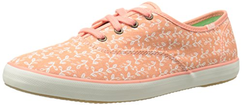 Keds Womens Champion Botanical Leaves Fashion Sneaker, Melon Pink, 8 M US