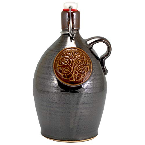 Bubba Jones Brew Cups & More Ltd. Ceramic Growler - 32 oz Hand-Made Stoneware Beer Growler with Celtic Knot Logo and Metallic Brown Glaze for Craft Beer Lovers and Home Brewers ()