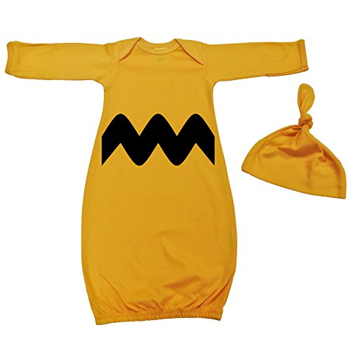Peanuts Charlie Toddler Costumes (We Match! Baby Black & Gold Chevron Layette Gown Super Soft Baby Outfit (Gold))