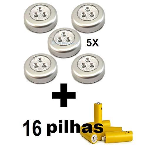Kit 5 Lampadas Para Closet Armarios Cofres Prateleiras Sem Fios Brinde 16 Pilhas AAA