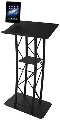 Truss Podium with Base and 23'' Wide Top, 64''H, Includes iPad 2-4 and iPad Air Mount (Black Steel/Aluminum) by Displays2go