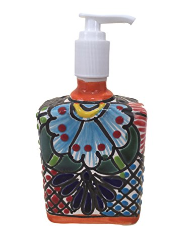 p & Lotion Dispenser, for Kitchen or Bathroom Countertops - Hand Painted Mexican Pottery - Assorted Colors (Multicolor) Summer 2018 ()
