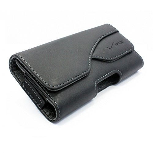 Black Horizontal Sideways Leather Phone Case Cover Holster with Belt Clip for Straight Talk LG Sunset ()