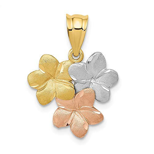 Mm 15 Pendant Plumeria (14k Tri-color Gold Satin Triple Plumeria Pendant, 15mm (9/16 inch))