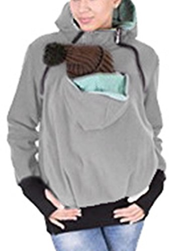 Moxeay Women 3 in 1 Hoodie Maternity Outerwear Coat Kangaroo Jacket Baby Carrier (S, Gray)