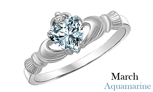 Heart Shape Customize Simulated Aquamarine Claddagh Ring in 14k White Gold Over 925 Sterling Silver