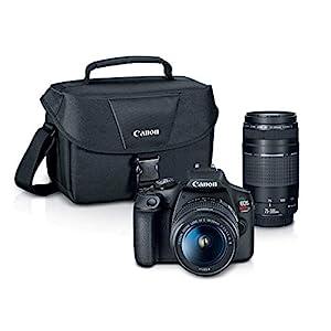 Canon EOS REBEL T7 DSLR Camera|2 Lens Kit with EF18-55mm + EF 75-300mm Lens, Black