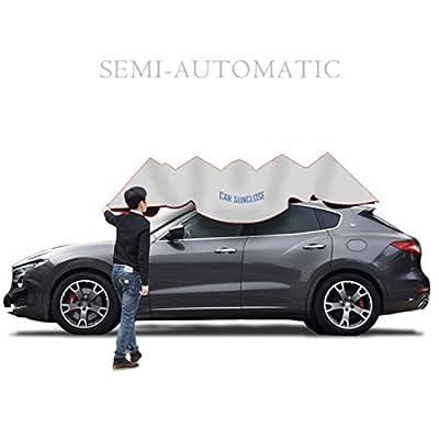 Semi-automatic car umbrella,YIKESHU Carport Automatic Car Tent Sun Shade Canopy Folded Portable Car Umbrella with Remote Control 88x161 inches Silver