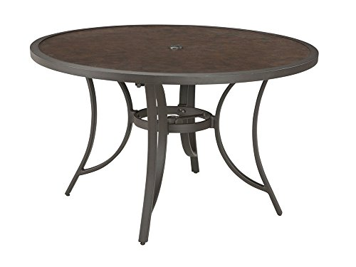 Ashley Furniture Signature Design - Carmadelia Round Outdoor Dining Table with Umbrella Option - Seats 4 - Tan & Brown