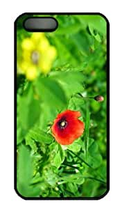 iPhone 5S Case - Customized Unique Design Poppy New Fashion PC Black Hard