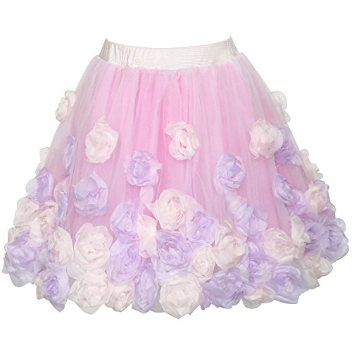 Sunny Fashion Girls Skirt Pink Rose Flower Tutu Dancing Dress Size 6-12