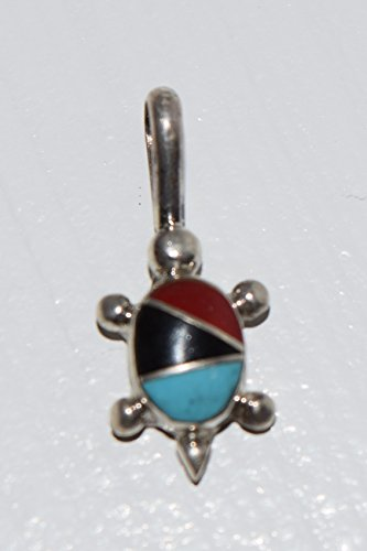 Jet, Coral and Turquoise Inlay Sterling Silver Turtle Pendant