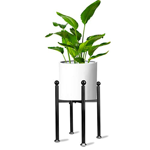 Merya Metal Plant Stand Mid Century Modern Indoor Outdoor Potted Plant Holder, Black Anti-Rust Iron Display Rack with Height-Adjustable Feet, Hold Up to 10 Inch Planter(Plant &Pot not Included)