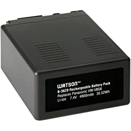 Watson VW-VBG6 Lithium-Ion Battery Pack (7.4V, 4800mAh) -Replacement for Panasonic VW-VBG6 Battery Panasonic AG-AC130 , AG-AC160 , AG-AF100 , AG-AF100A , AG-HMC70 , AG-HMC150