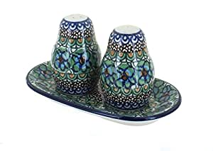 Polish Pottery Mardi Gras Salt & Pepper Shaker with Tray