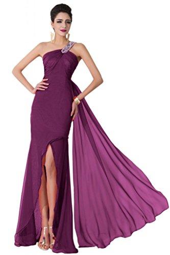 sunvary un hombro vaina de alta baja gasa vestidos de noche Pageant para 2015 morado