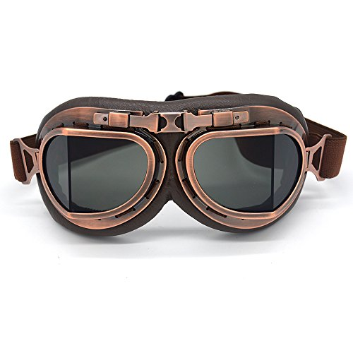 Evomosa Aviator Goggles Vintage Pilot Style Motorcycle Cruiser Scooter Goggle Bike Racer Cruiser Touring Half Helmet Goggles (Copper, Smoke) - Lady Leather Race Suit