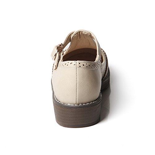 Low Shoes Soild Women's Beige Odomolor Closed Toe Pu Buckle Court Heels Tatnqf