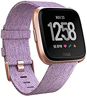 Fitbit Versa Special Edition Smartwatch with Woven Band - Lavender / Rose Gold (Renewed)