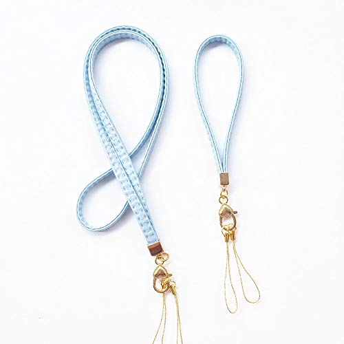 2 Pack PU Leather Neck Lanyard Keychain Holder & Wrist Lanyards Hand Straps,Premium Quality Necklace Wristlet Strap with Golden Heart Pendant for Keys, Camera, Phone Charms, Lightweight -