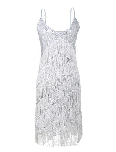 [JustinCostume 1920s Sequins Tassel Cocktail Latin Party Dress (X-Large, Silver)] (Tina Turner Wig)