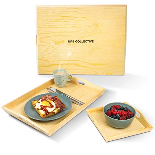 Wood Serving Tray - Set of 3 - Wooden Serving Trays - Breakfast in Bed - Platter For Food Drink Eating Coffee Dinner and Meal - Butler Lap Trays with (Eating Dinner)