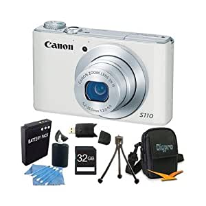 Canon PowerShot S110 White Compact High Performance Camera 32GB Bundle