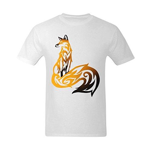 Bright Sun Mens Tribal Fox Golden And Black Art Design T Shirt   Vintage T Shirt Us Size Medium