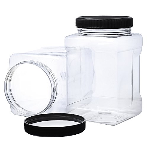 Pack of 4-32 Oz Large Clear Empty Plastic Storage Jars with Lids - Square Food Grade Container with Easy Grip Handles - Multi Purpose Jar BPA - Texas Star Canister Kitchen