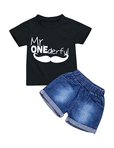 (Toddler Baby Boy Clothes First Birthday Outfit Summer T-Shirt Denim Shorts Outfits Set Clothes (B-Black, 12-18 Months))